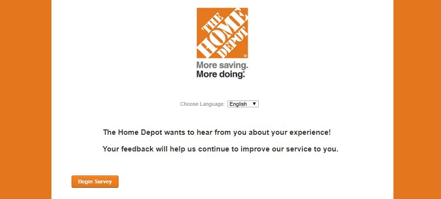Home Depot survey home page