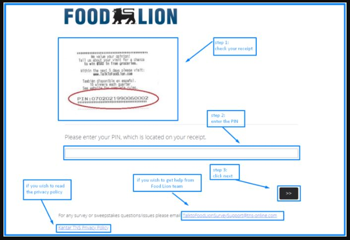 Talk to Food Lion Survey www talktofoodlion com