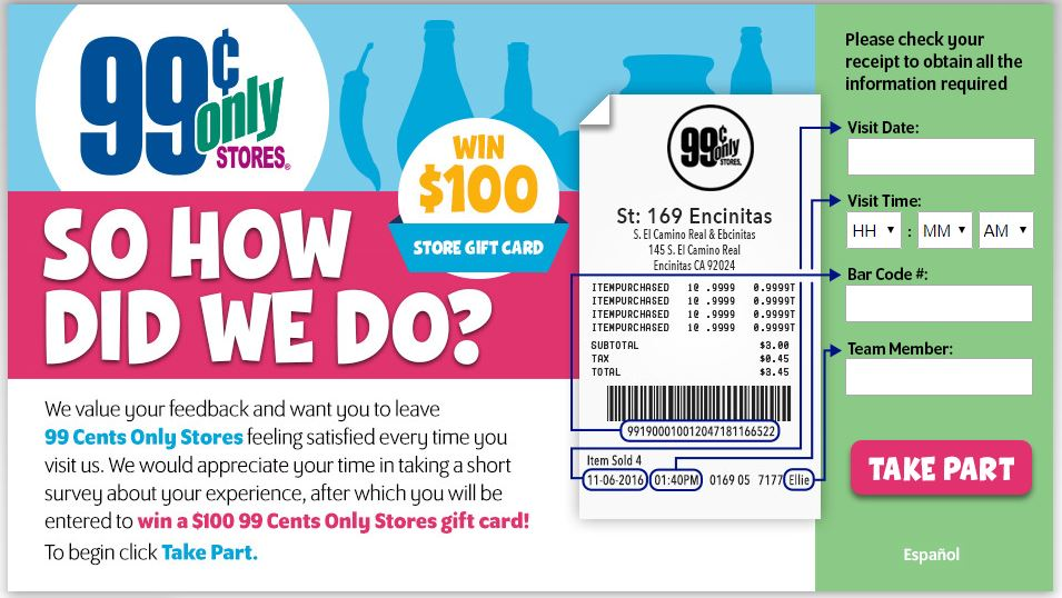99 Cents Only Stores Customer Satisfaction Survey guide