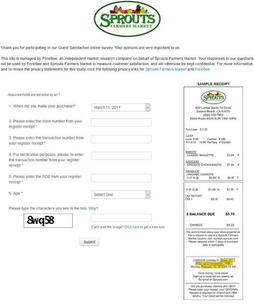 Sprouts Farmers Market Guest Satisfaction Survey guide