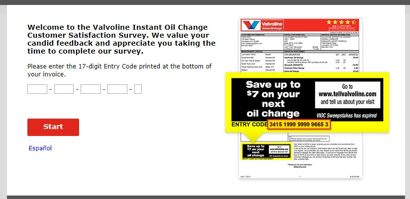 Valvoline Instant Oil Change Customer Satisfaction Survey Step By Step Guide