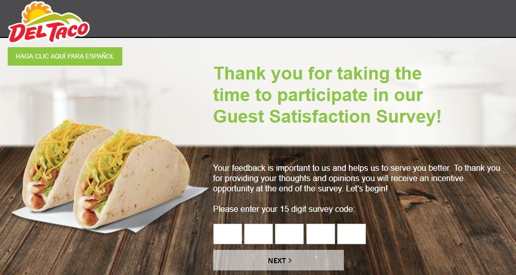 Del Taco Guest Satisfaction Survey step 1