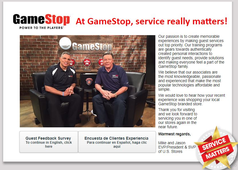 GameStop Customer Experience Survey guide 1