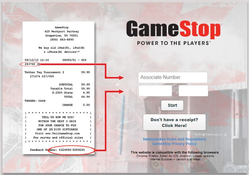 GameStop Customer Experience Survey guide 2