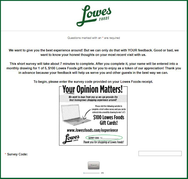 Lowes Foods Guest Experience Survey guide