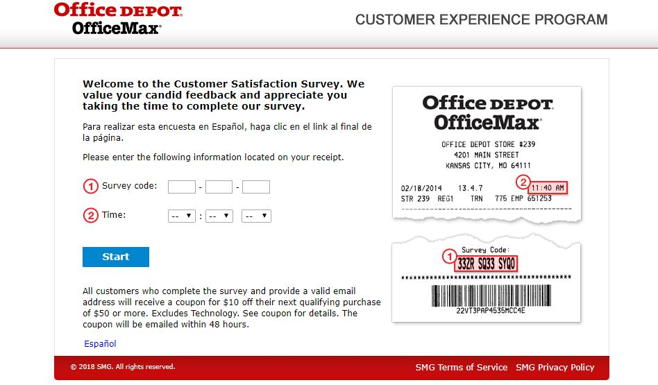Office Depot Customer Experience Survey guide