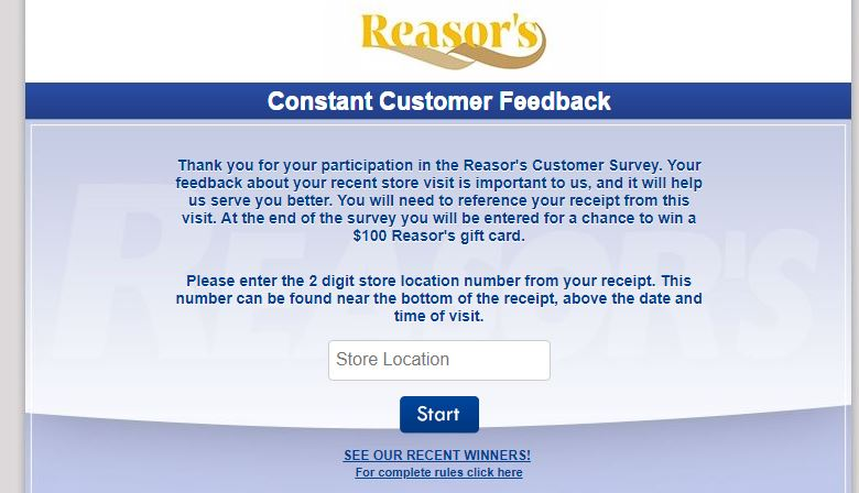 Reasors Customer Satisfaction Survey step by step guide