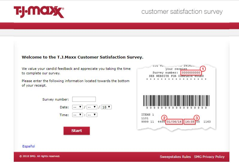 T.J.Maxx Customer Satisfaction Survey step 1