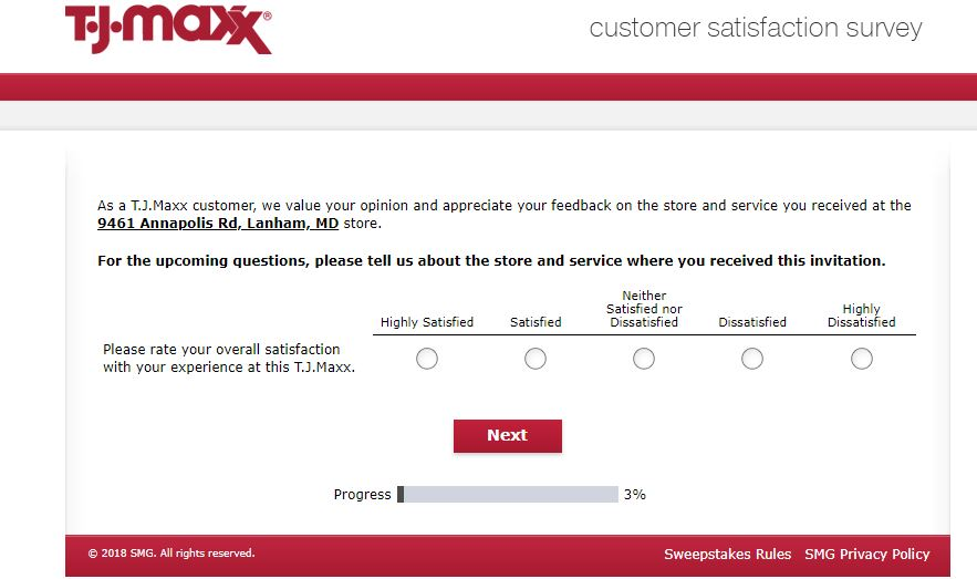 T.J.Maxx Customer Satisfaction Survey step 2