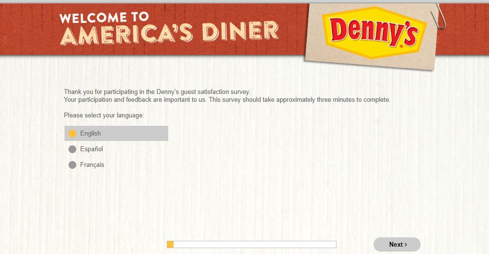 DennysListens Survey step 1