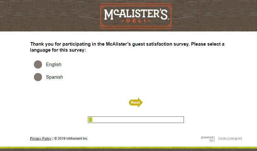 McAlisters Deli Survey step 1