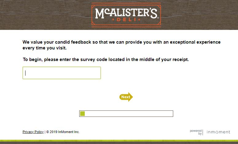 McAlisters Deli Survey step 2