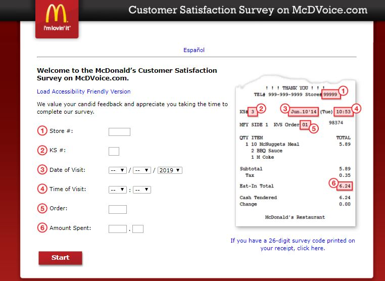 McDonalds Customer Satisfaction Survey on McDVoice