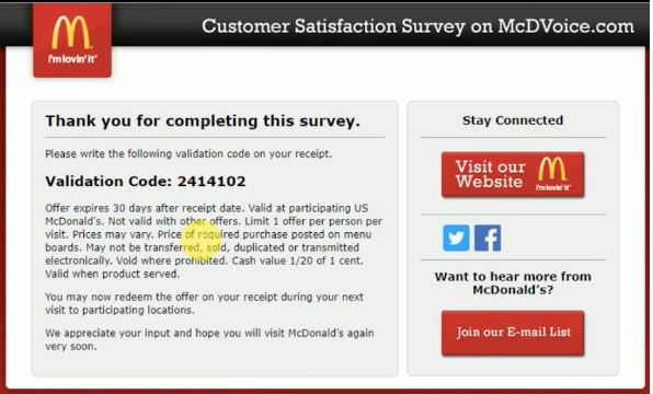 McDonalds Survey step 3
