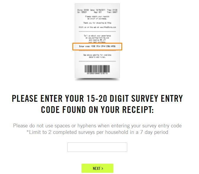Nike customer satisfaction survey step 2