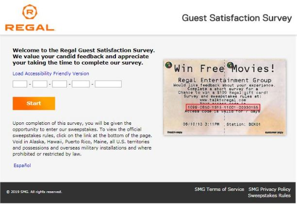 Regal Entertainment Group Survey step 1
