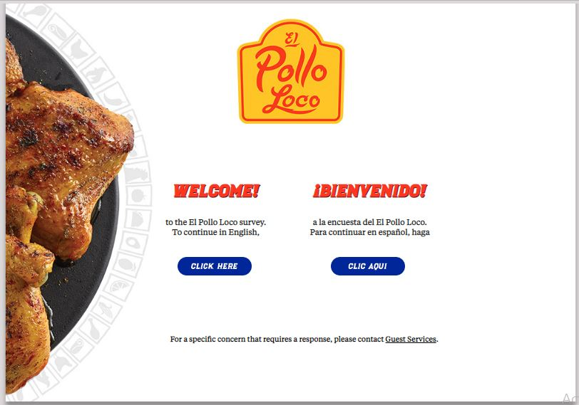 El Pollo Loco Survey step 1