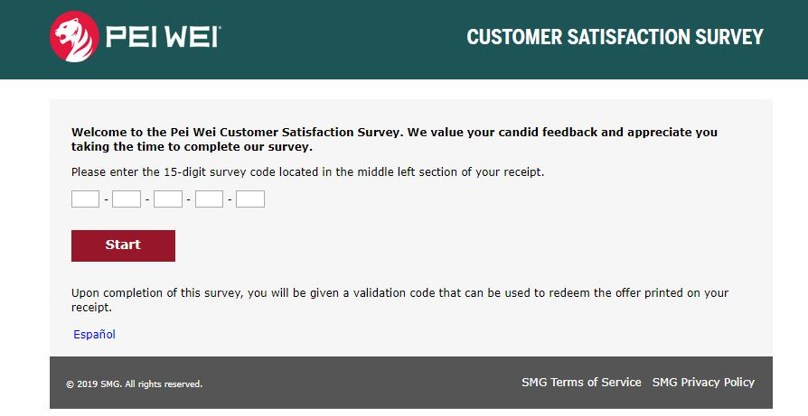 How to do Pei Wei Survey Online