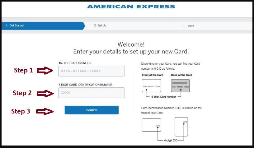 American Express Confirm Card Online Method