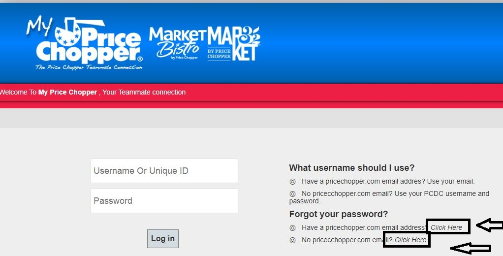 Price Chopper forgot password